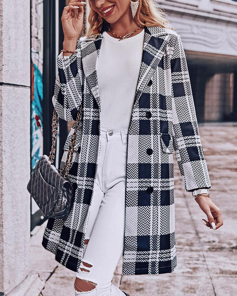 Plaid Double Breasted Flap Detail Pea Coat