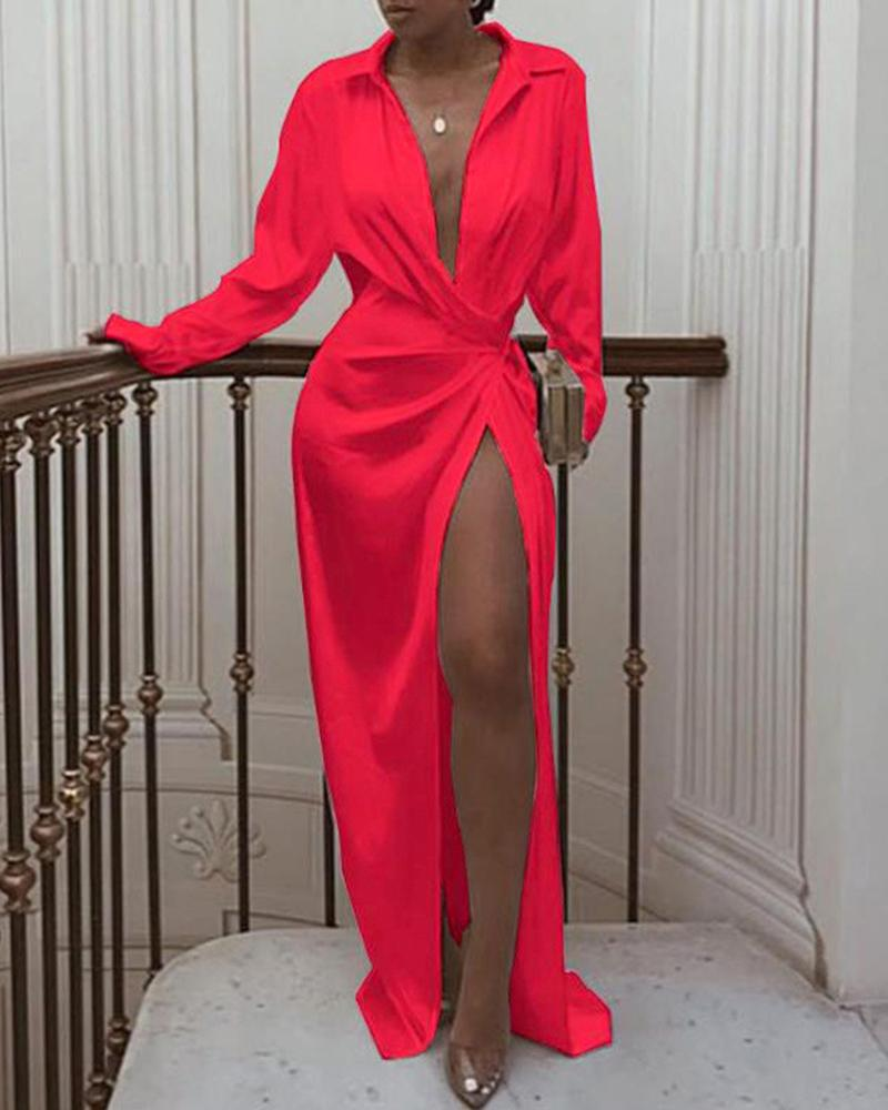 Solid Twisted Design High Slit Maxi Dress thumbnail