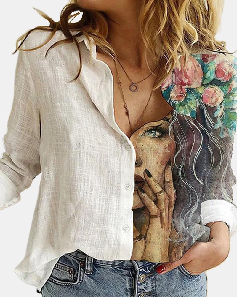 Figure Print Button Design Long Sleeve Casual Shirt