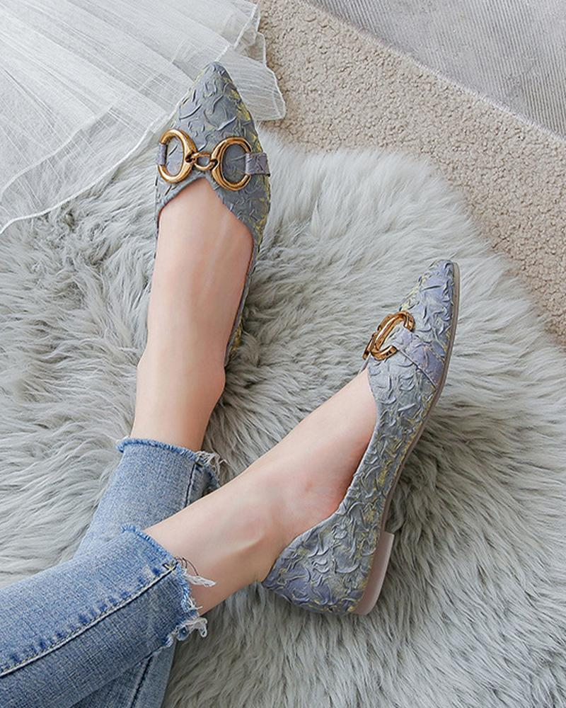 Pointed-toe Solid Color Glitter Splicing Buckle Slip-on