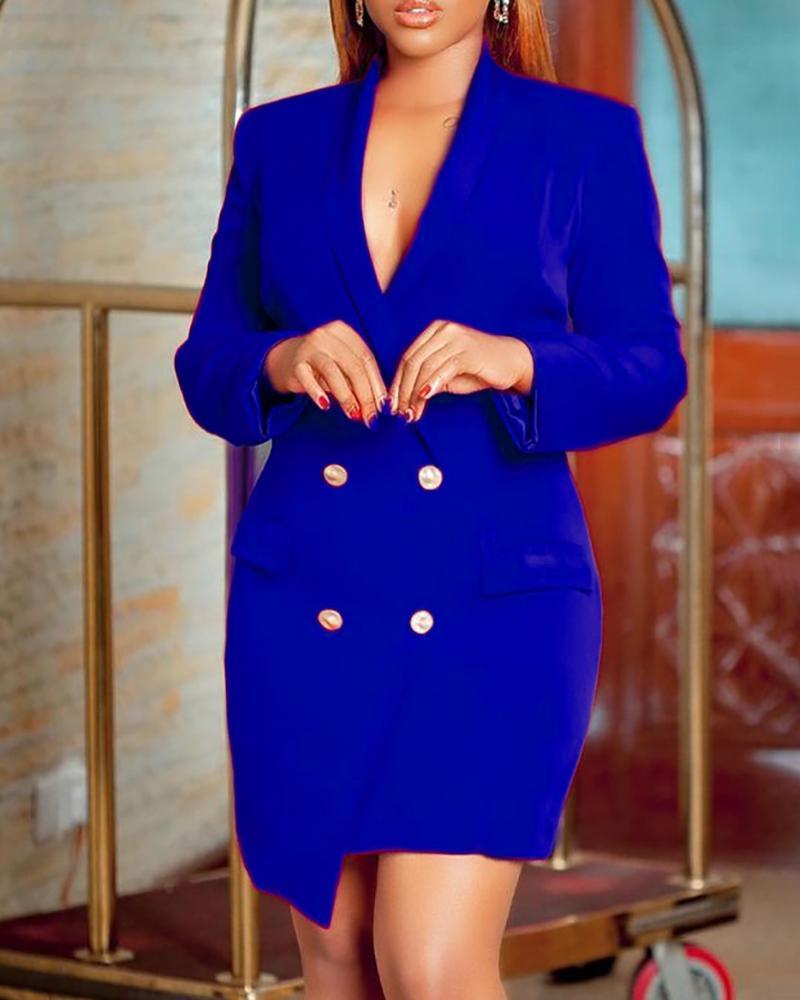 Double Breasted Pocket Decor Blazer Dress