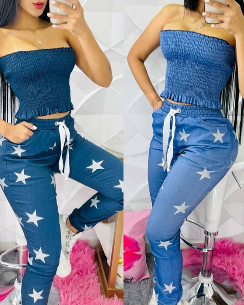 Bandeau Shirred Top & Star Print Drawstring Pants Set