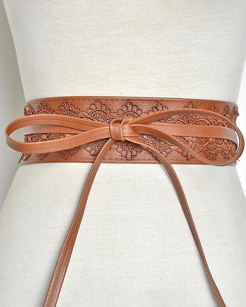 1PCS Floral Lace Decor Tied Detail PU Leather Corset Belt
