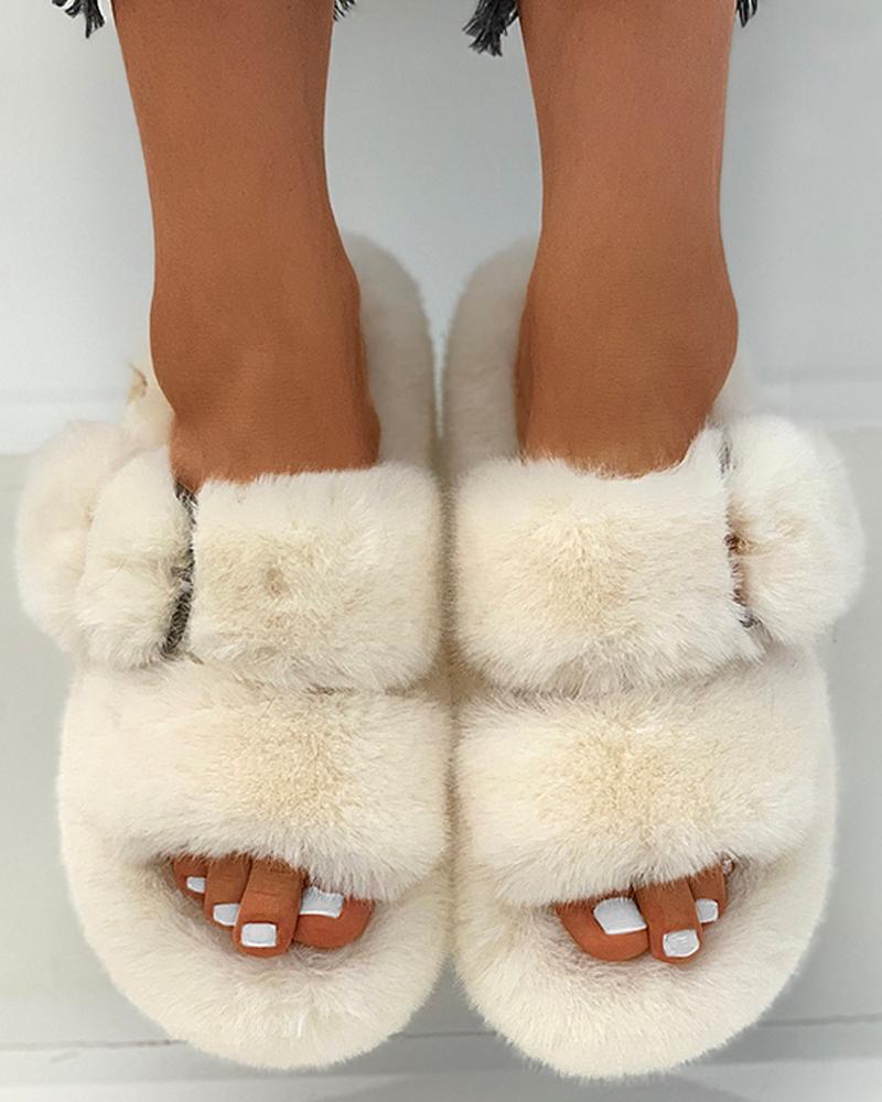 Plain Buckled Fluffy Slippers
