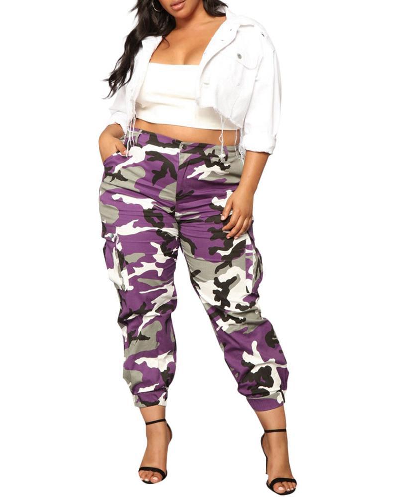 Camouflage Print High Waist Pocket Design Cargo Pants