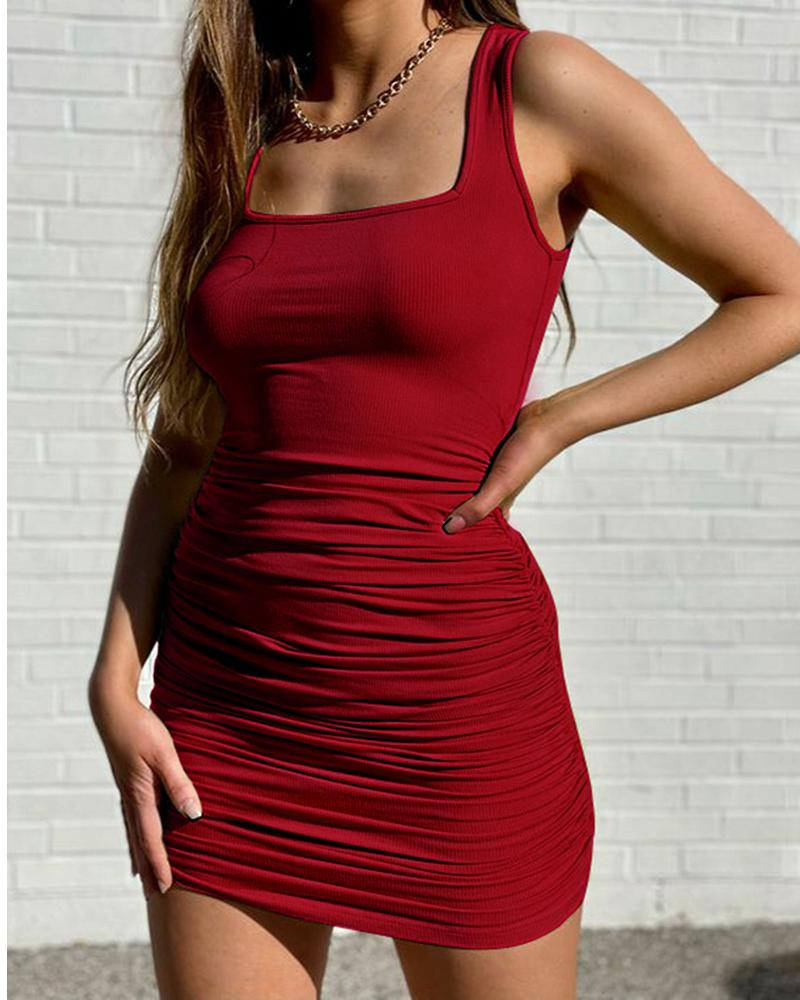Square Neck Sleeveless Ruched Bodycon Dress thumbnail