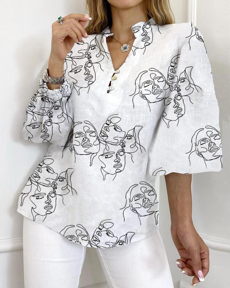 Abstract Print Lantern Sleeve Buttoned Top, White