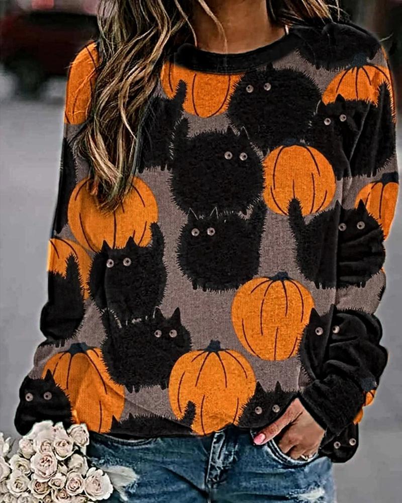 Halloween Pumpkin Cat Print Colorblock Sweatshirt thumbnail