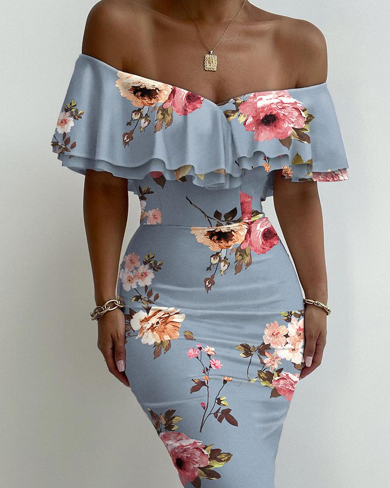 Floral Print Layered Ruffle Trim Off Shoulder Bodycon Dress