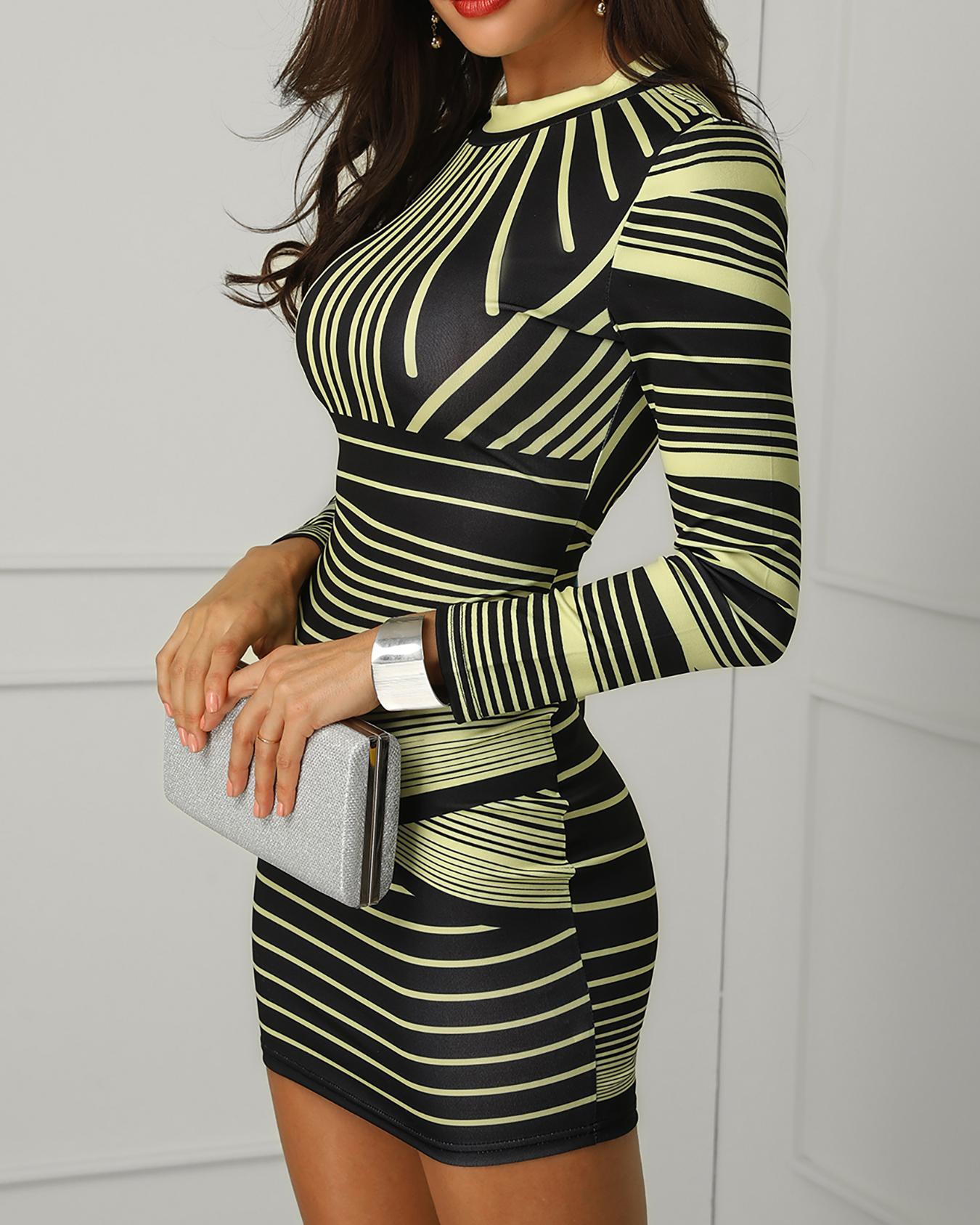 Striped Colorblock Long Sleeve Bodycon Dress thumbnail