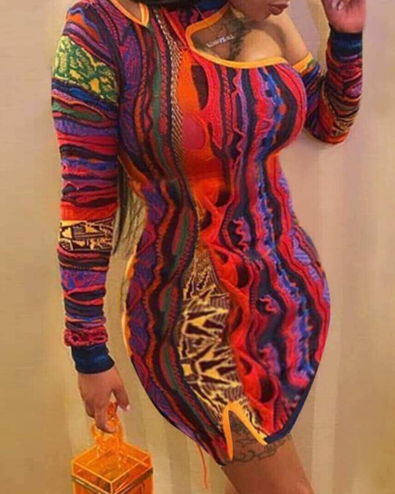 One Shoulder Colorblock Long Sleeve Bodycon Dress thumbnail