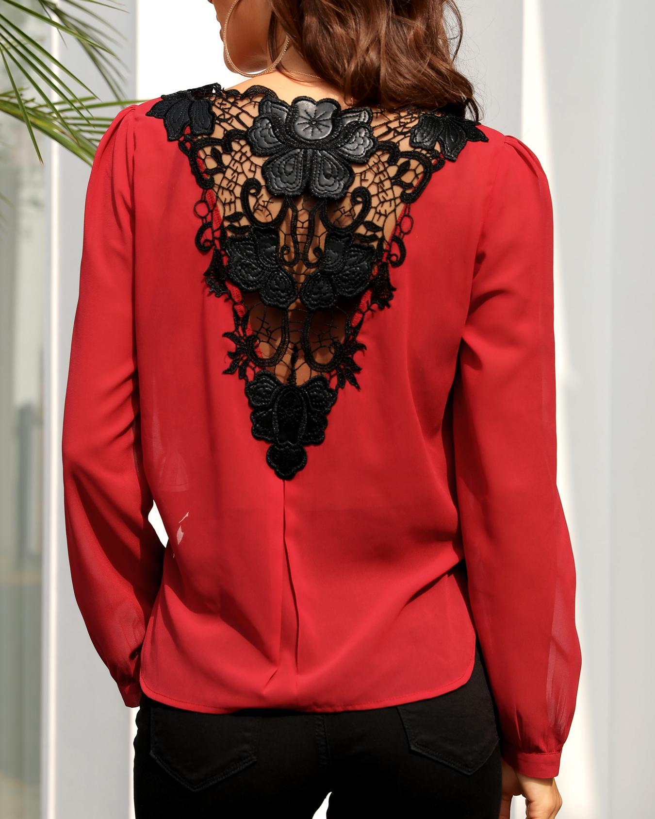 Blusa delantera de encaje de crochet