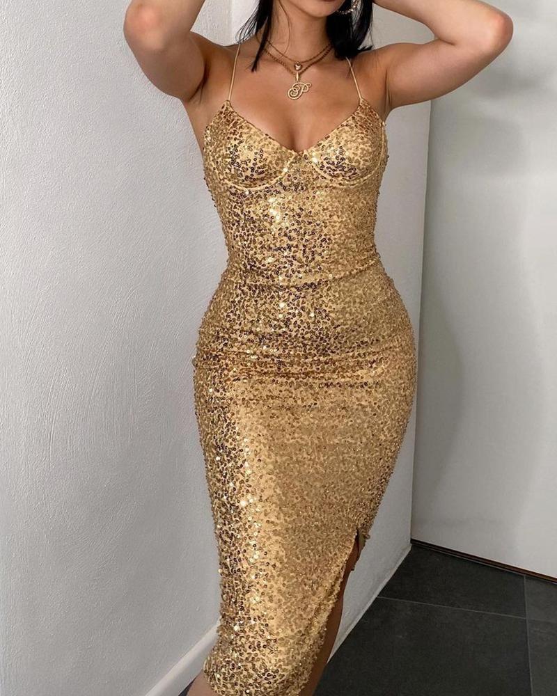 V-Neck Slit Cami Sequin Dress