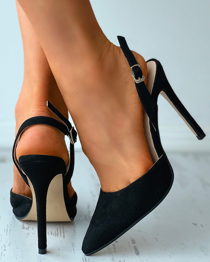 Pointed Toe Slingback Suede Stiletto Heels