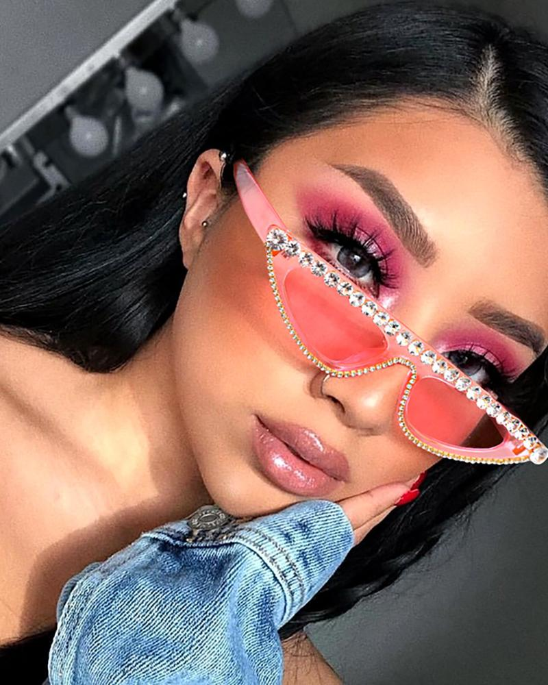 1Pair Tinted Lens Studded Cat Eye Sunglasses