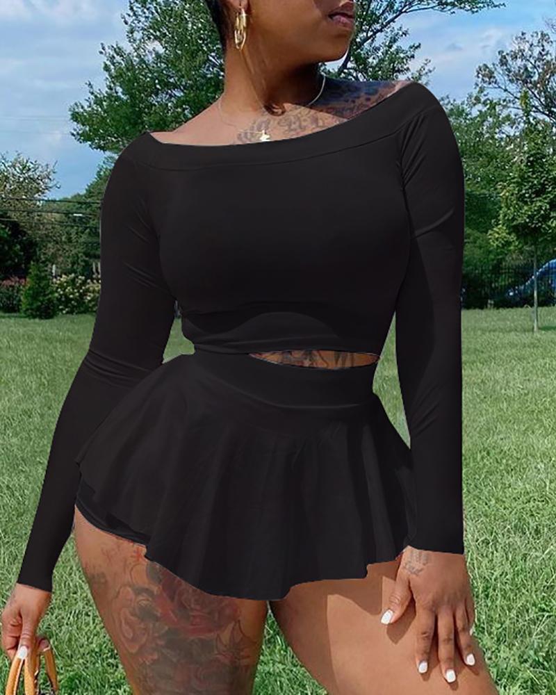 Skinny Long Sleeve Crop Top & Skorts Set