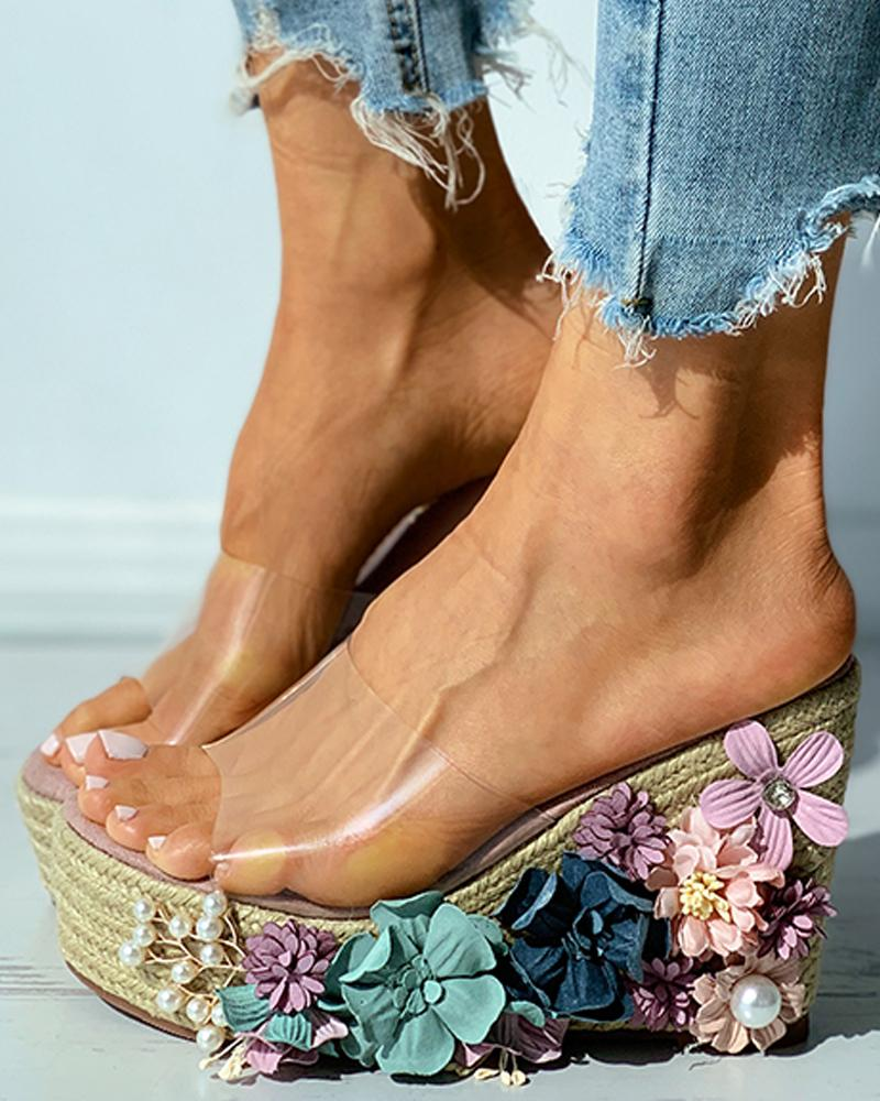 Floral Pattern Woven Flax Claer Perspex Wedge Sandals thumbnail