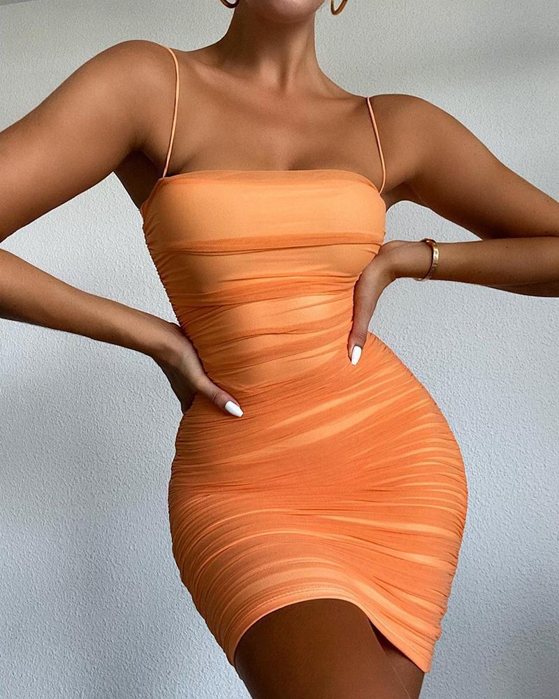 Plain Sheer Mesh Spaghetti Strap Ruched Bodycon Dress