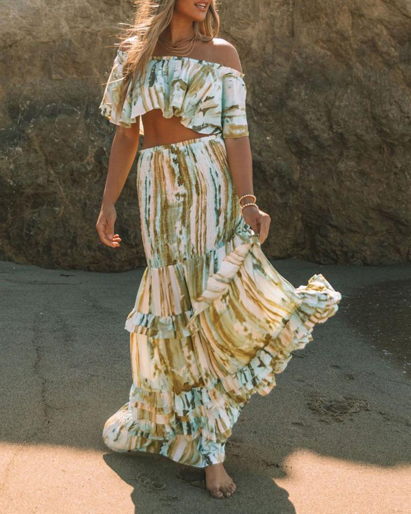 Tie Dye Print Off Shoulder Short Sleeve Cropped Top With Skirt Skirt Sets