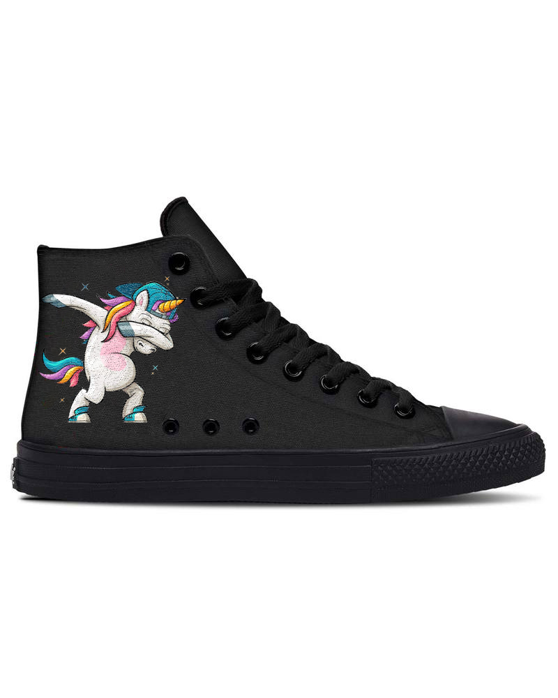 Womens Cool Unicorn Print Round Toe Lace-up High Top Canvas Casual Shoes, Black
