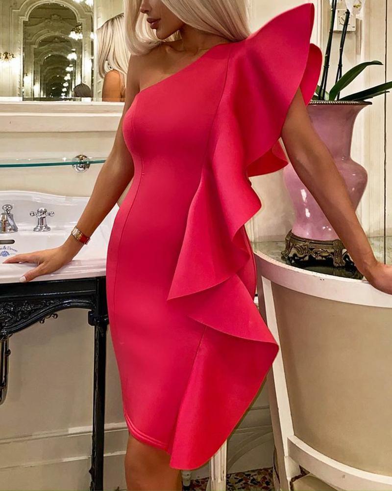 Solid One Shoulder Ruffle Hem Bodycon Dress