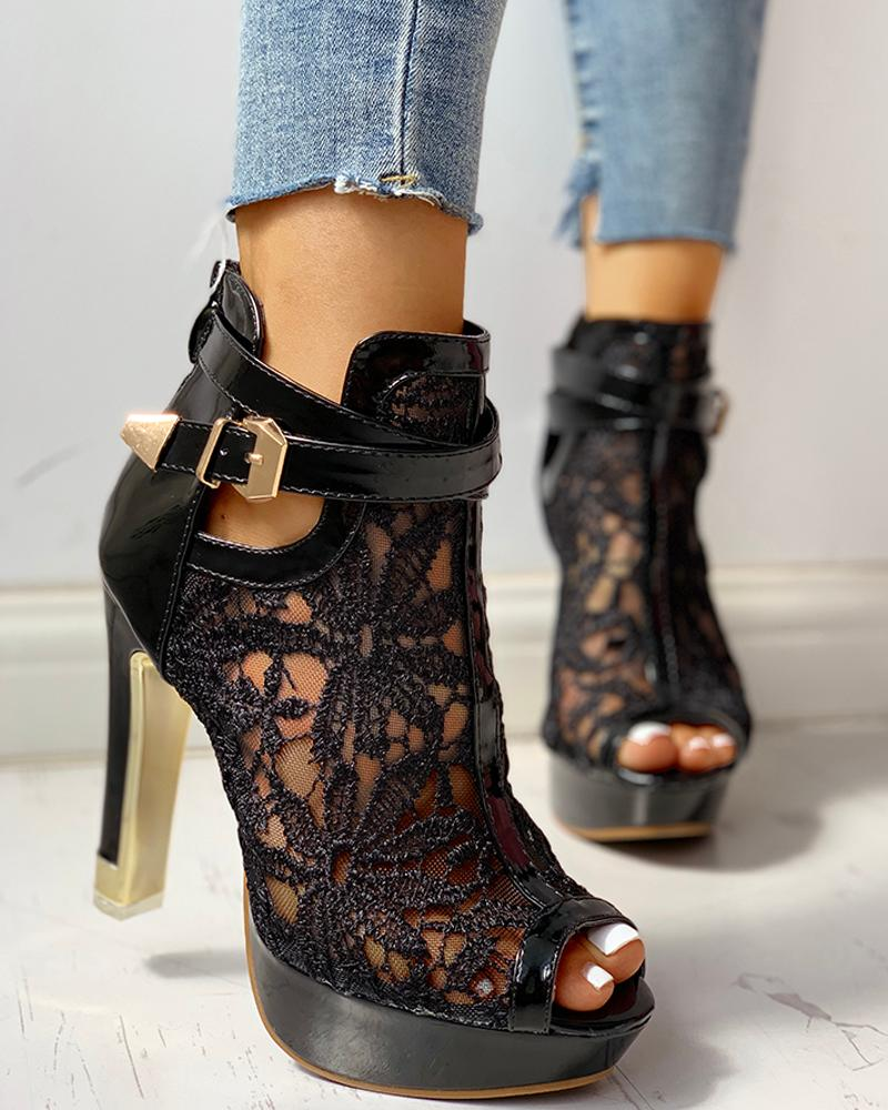 Peep Toe Ankle Buckled Lace Embroidery Thin Heeles