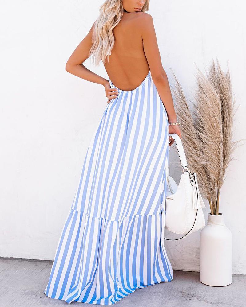 Striped Halter Loose Backless Long Dress