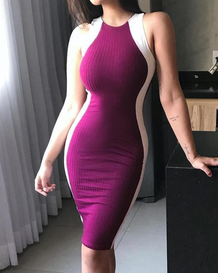 ChicMe coupon: Contrast Color Splicing Bodycon Dress
