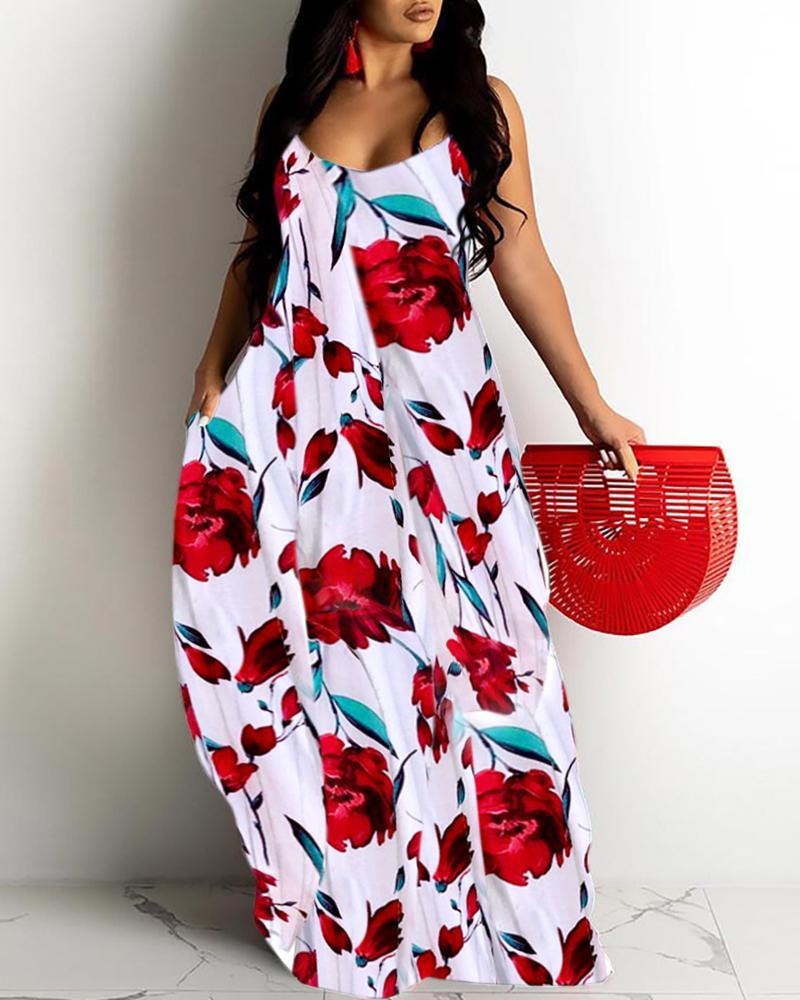 Floral Print Spaghetti Strap Casual Maxi Dress thumbnail