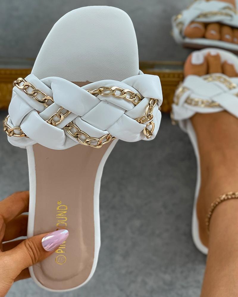 Chain Decor Braided Square Toe Slipper, White