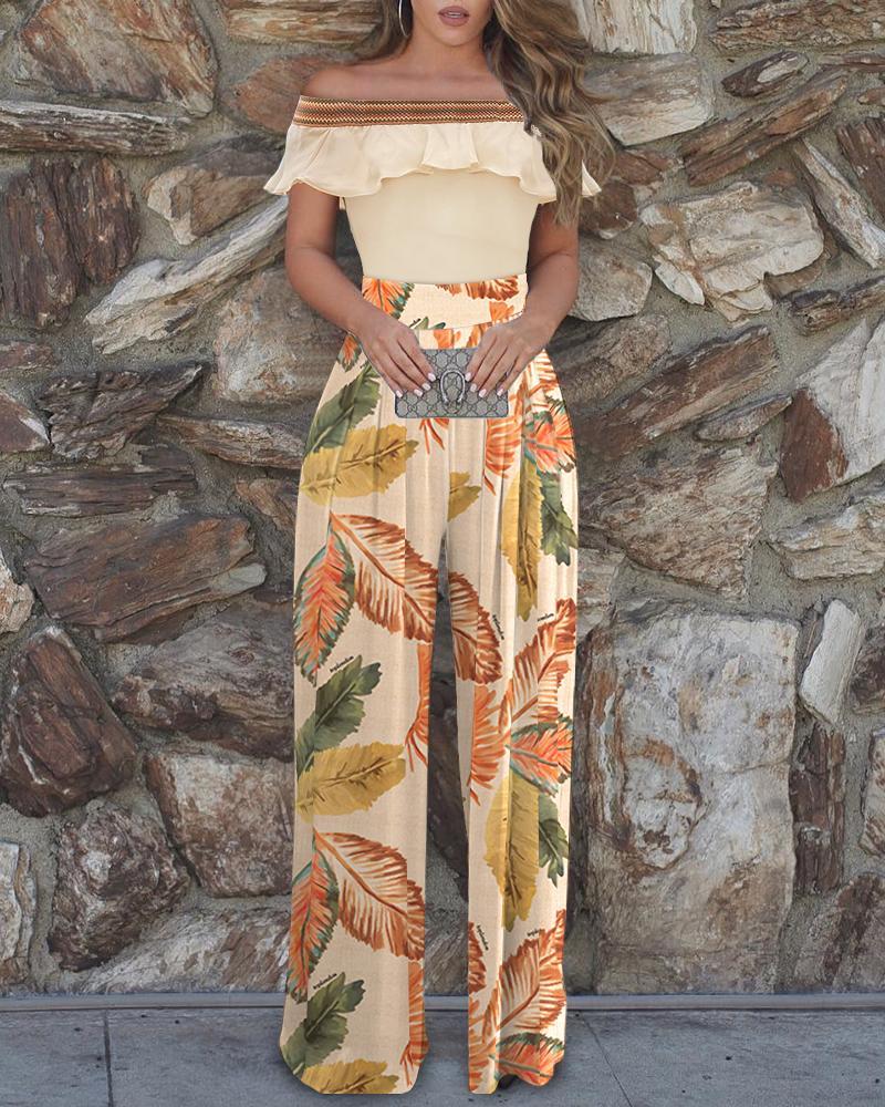 Floral Print Off Shoulder Colorblock Top & Pants Sets
