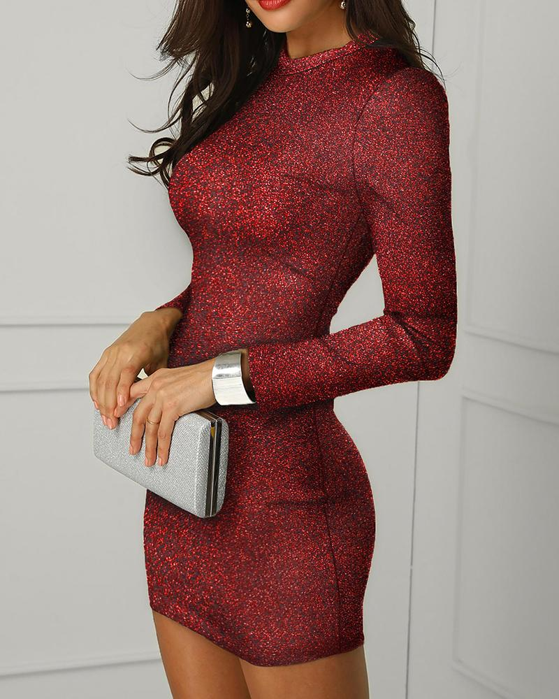 Glitter Backless Bodycon Dress, ivrose, red  - buy with discount
