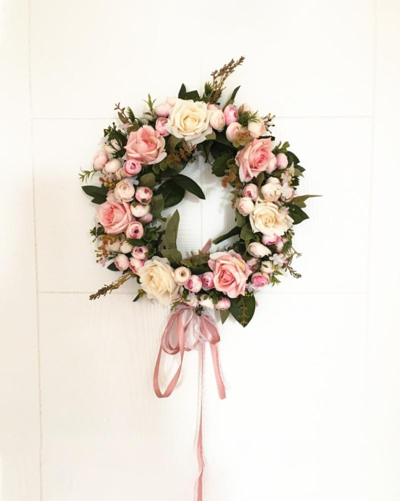 Rose Flowers Wreath Artificial Garland Wreath With Ribbon For Front Door Wedding Christmas Party Wall Window Decoration