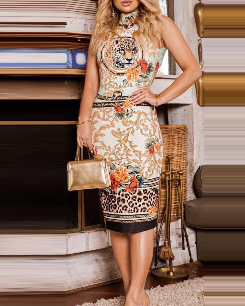 Floral Cheetah Print Sleeveless Dress