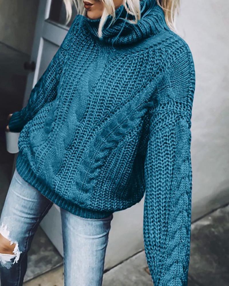 High Neck Braided Long Sleeve Sweater