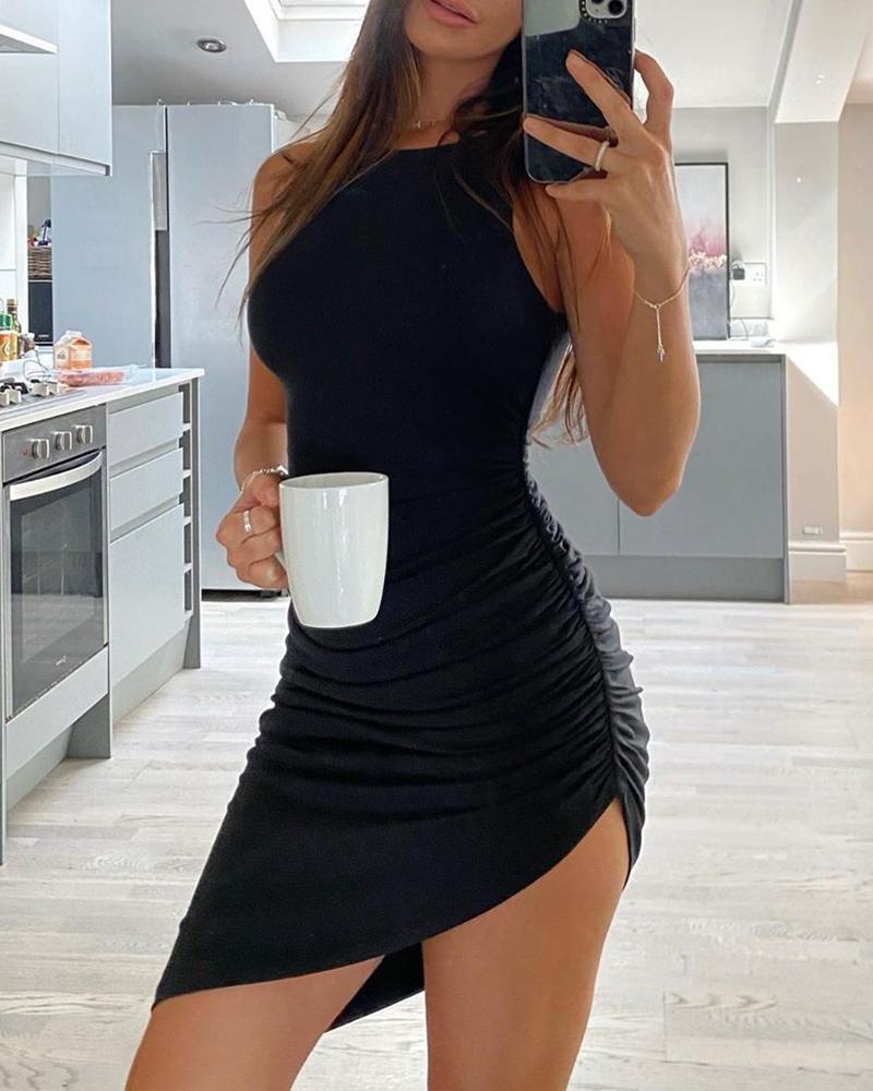 Asymmetric Ruched Bodycon Dress, Black