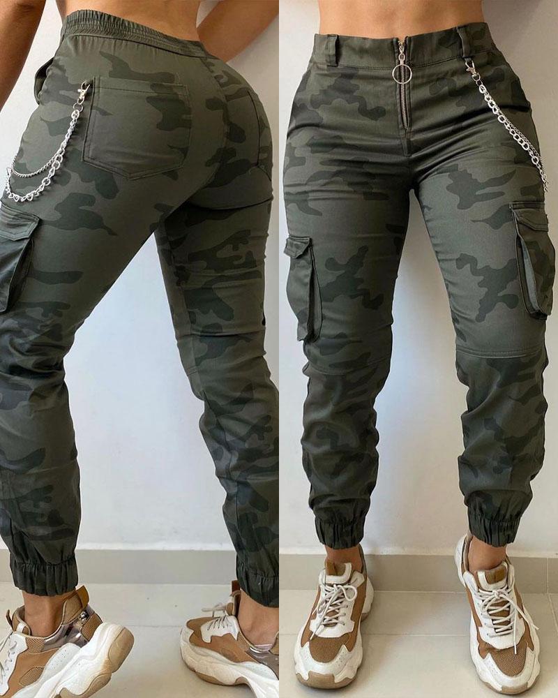 Camo Print Zipper Fly Flap Pocket Cargo Pants Casual Daily Midde Waist Slim Long Pants, ivrose, green  - buy with discount