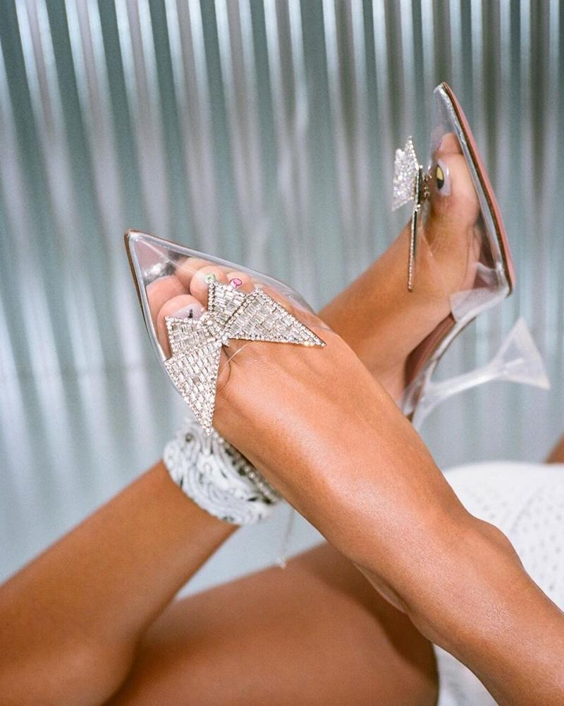 Butterfly Crystal Pointed-toe Patch High Heel Sandals