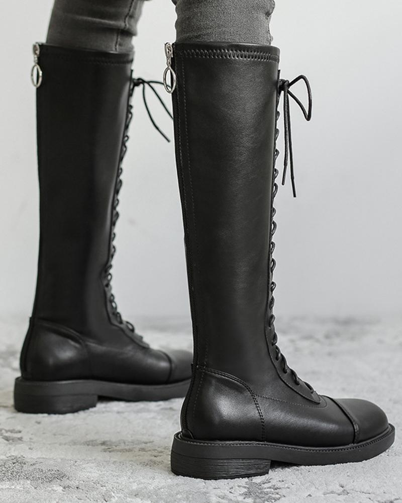 Round Toe Lace-up Martin High Boots