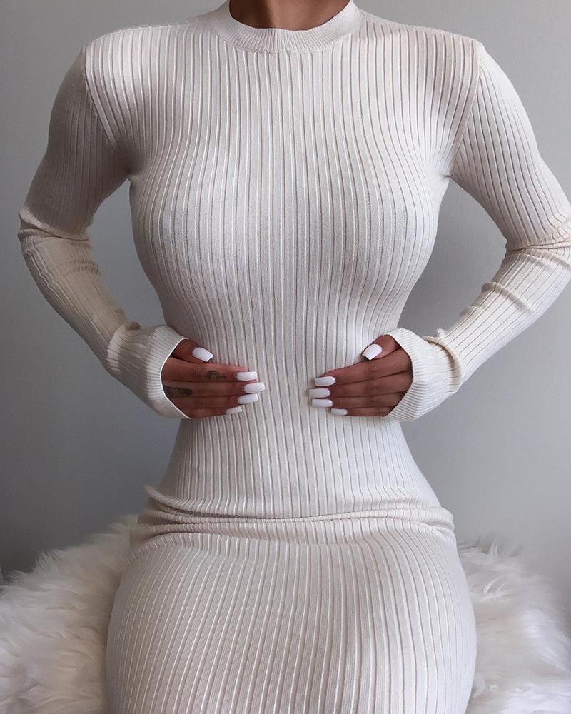 Plain Ribbed Backless Long Sleeve Maxi Dress