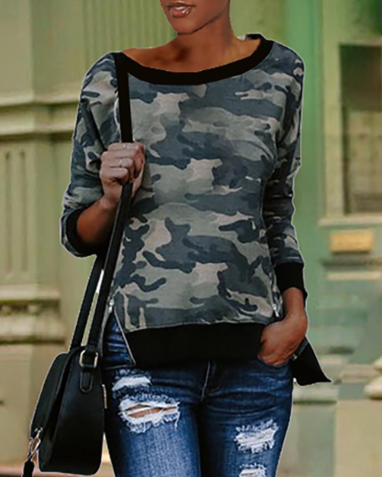 Boutiquefeel coupon: Camouflage Print Binding Long Sleeve Sweatshirts