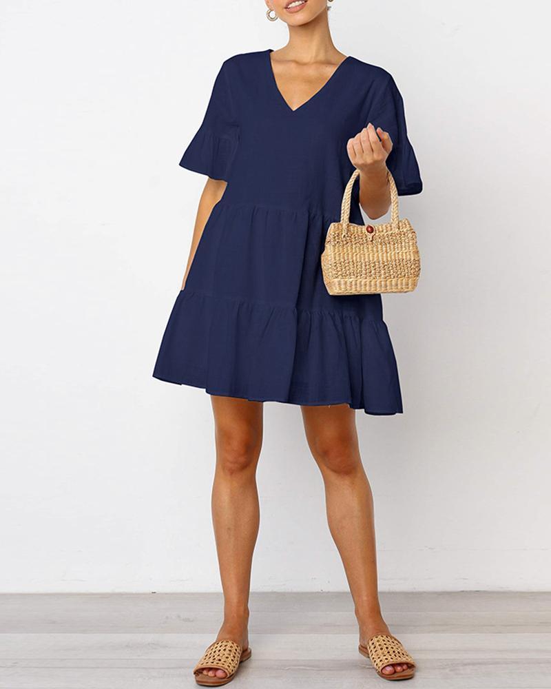 Ruffles Short Sleeve V-Neck Casual Dress, Blue