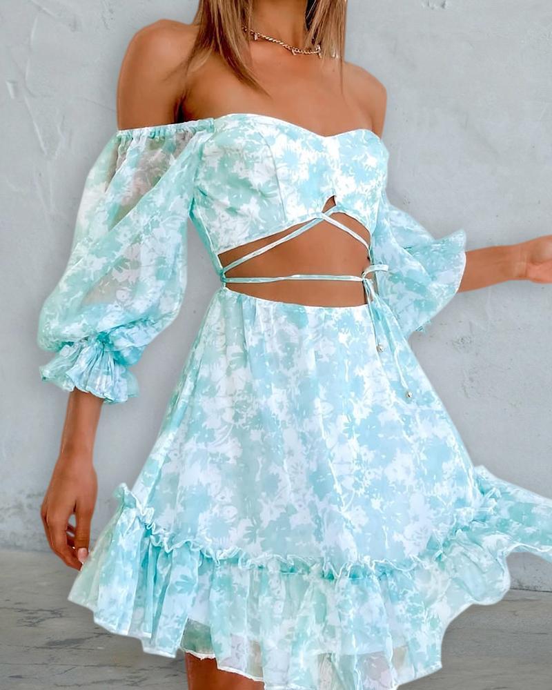 Off Shoulder Lantern Sleeve Floral Print Crop Lace Up Dress, ivrose, blue  - buy with discount