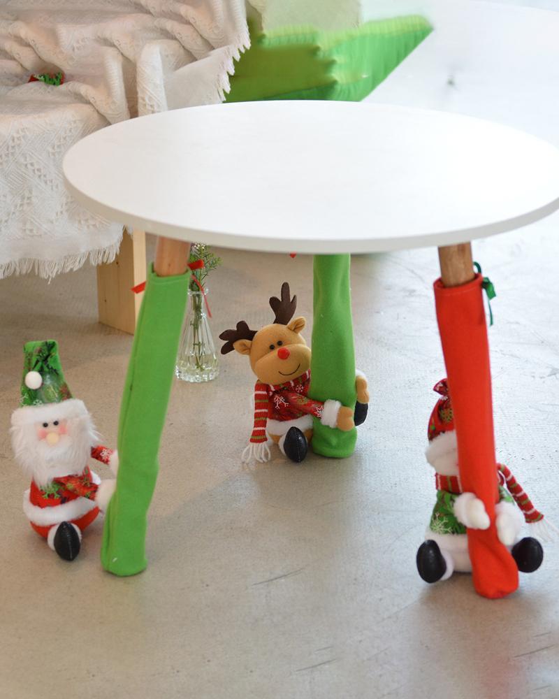 Dinner Desk Foot Christmas Chair Sock Festive Decorative Soft Reusable Furniture Leg Cover