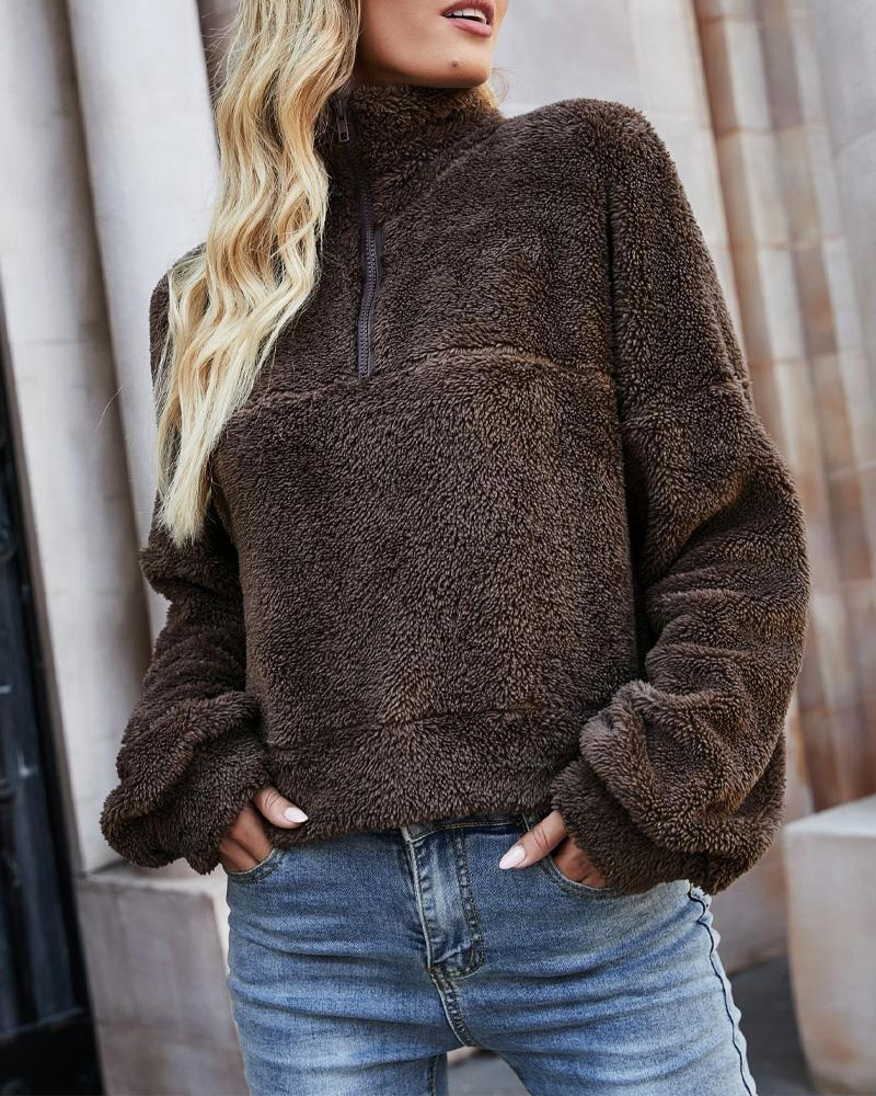Long Sleeve Zipper Front Fuzzy Sweatshirt