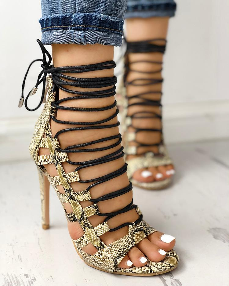 Open Toed Lace-Up Thin Heeled Sandals, Yellow
