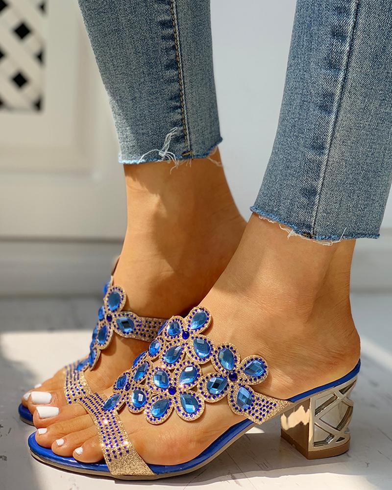 Waterdrop Rhinestone Chunky Heeled Sandals