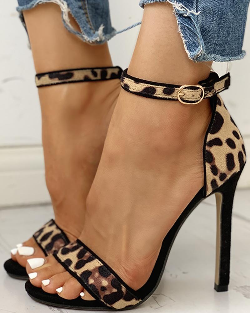 Suede Leopard Peep Toe Ankle-buckled Thin Heels