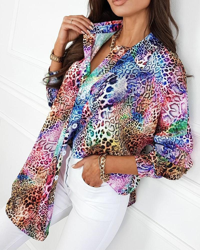 Colorful Leopard Print Button Up Top