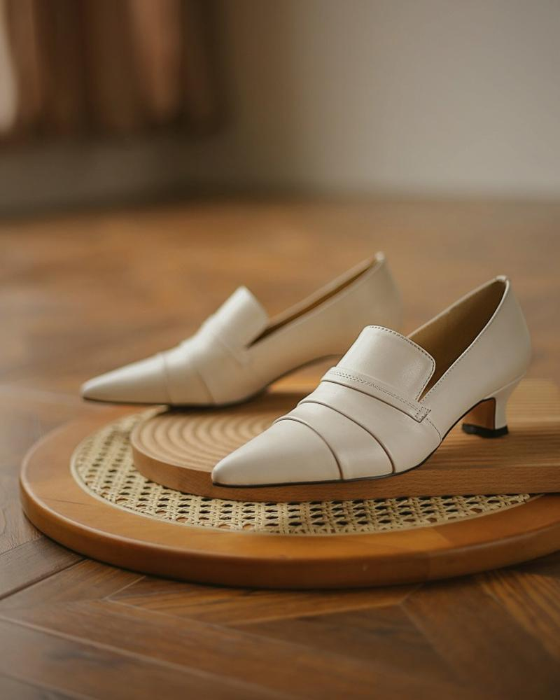 Pointed Toe Slide Chunky Heels